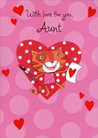 Cat Paints Valentine: Aunt (1 card/1 envelope) - Valentine's Day Card - FRONT: With love for you, Aunt  INSIDE: This happy kitty's here today to send my hugs and love your way. You make me smile so easily because you're the best Aunt to me. Happy Valentine's Day!