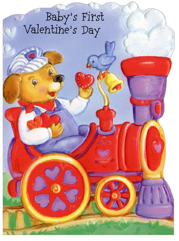 Dog Conductor on Train: Baby's 1st Valentine (1 card/1 envelope) - Valentine's Day Card - FRONT: Baby's First Valentine's Day  INSIDE: You make hearts melt, yes you do, so here's a trainload of love for sweet, adorable you! Happy Valentine's Day