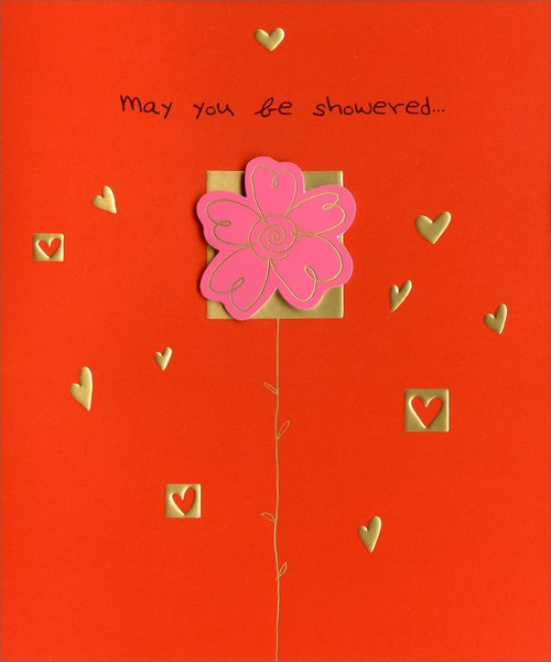 Flower Tip-on with Gold Foil Hearts (1 card/1 envelope) Freedom Greetings Valentine's Day Card - FRONT: May you be showered�  INSIDE: �with love and happiness on Valentine's Day �and every day!