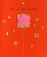 Flower Tip-on with Gold Foil Hearts (1 card/1 envelope) - Valentine's Day Card