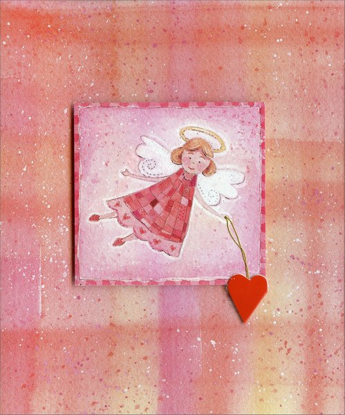 Angel Holding Heart on String (1 card/1 envelope) Freedom Greetings Valentine's Day Card  INSIDE: Happy Valentine's Day, Angel.