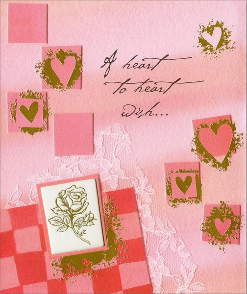 A Heart to Heart Wish (1 card/1 envelope) Freedom Greetings Valentine's Day Card - FRONT: A heart to heart wish…  INSIDE: Happy Valentine's Day