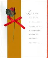Attached Rose with Ribbon (1 card/1 envelope) - Valentine's Day Card - FRONT: Like a rose that shares its fragrance through the air, a loving heart spreads joy and beauty everywhere�  INSIDE: thinking of you on Valentine's Day