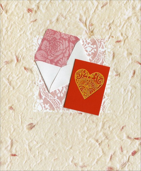 Valentine with Envelope Embellished (1 card/1 envelope) - Valentine's Day Card  INSIDE: Just a note to say I Love You. Happy Valentine's Day