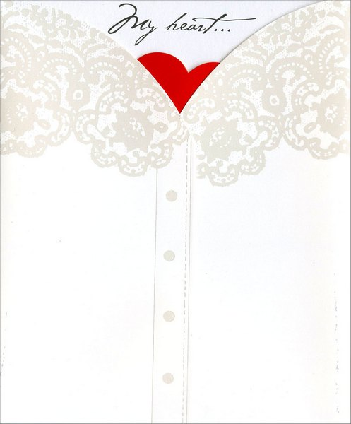 Heart Behind Shirt (1 card/1 envelope) Freedom Greetings Valentine's Day Card - FRONT: My heart�  INSIDE: is all yours! Happy Valentine's Day