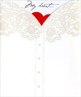 Heart Behind Shirt (1 card/1 envelope) - Valentine's Day Card
