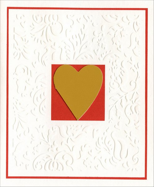 Gold Heart on Embossed White Embellished (1 card/1 envelope) Freedom Greetings Valentine's Day Card  INSIDE: With all my love on Valentine's Day
