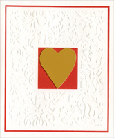 Gold Heart on Embossed White Embellished (1 card/1 envelope) - Valentine's Day Card