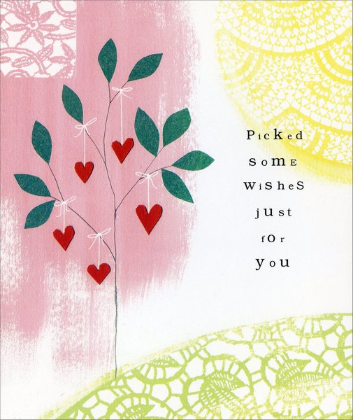 Hearts Strung on Tree (1 card/1 envelope) - Valentine's Day Card - FRONT: Picked some wishes just for you  INSIDE: Happy Valentine's Day - Happy Every Day