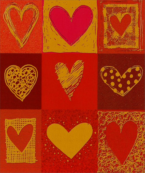 Sketched Gold Foil Hearts (1 card/1 envelope) - Valentine's Day Card  INSIDE: Wishing you a happy heart on Valentine's Day