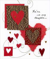 Red, Brown & Gold Foil Hearts (1 card/1 envelope) - Valentine's Day Card - FRONT: You're in my thoughts�  INSIDE: Always. Happy Valentine's Day