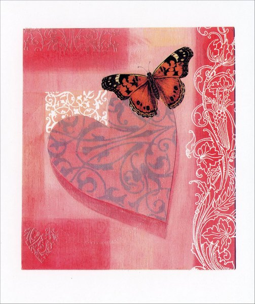 Butterfly on Heart (1 card/1 envelope) Freedom Greetings Valentine's Day Card  INSIDE: Thank you for your friendship. Happy Valentine's Day