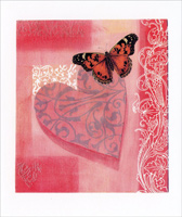 Butterfly on Heart (1 card/1 envelope) - Valentine's Day Card