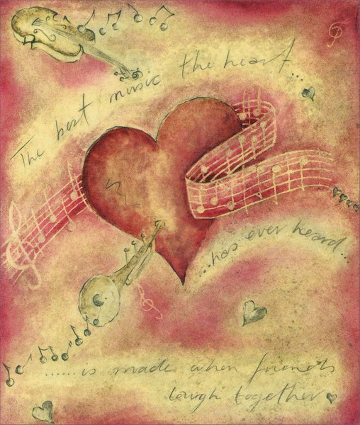 Heart Music (1 card/1 envelope) - Valentine's Day Card - FRONT: The best music� the heart has ever heard� is made when friends laugh together  INSIDE: The best music� the heart has ever heard� is made when friends laugh together - Happy Valentine's Day Dear Friend