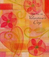 Flowers and Hearts Canvas (1 card/1 envelope) - Valentine's Day Card