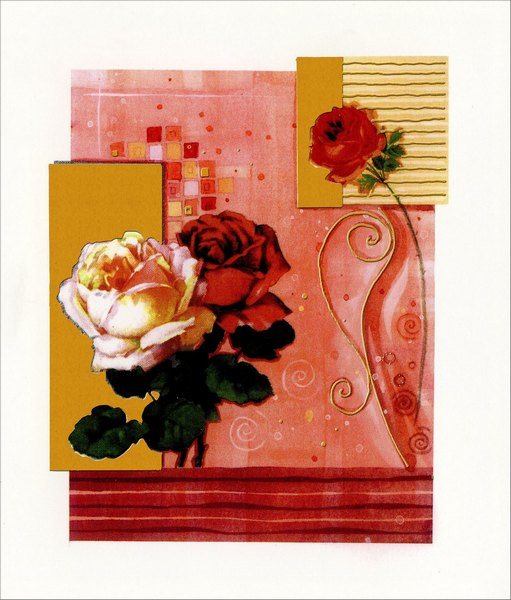 Three Roses (1 card/1 envelope) Freedom Greetings Valentine's Day Card  INSIDE: Love is the sweetest flower in memory's bouquet. Thinking of you on Valentine's Day