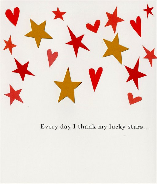 Stars and Hearts (1 card/1 envelope) Freedom Greetings Valentine's Day Card - FRONT: Every day I thank my lucky stars�  INSIDE: �for having a wonderful friend like you! Happy Valentine's Day