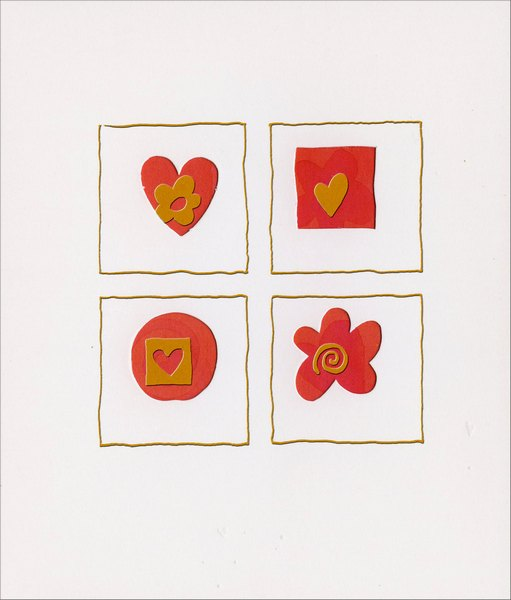 Heart, Square, Circle Flower Cutout (1 card/1 envelope) - Valentine's Day Card  INSIDE: Day after day, I hold you in my thoughts and in my heart. Happy Valentine's Day