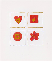 Heart, Square, Circle Flower Cutout (1 card/1 envelope) - Valentine's Day Card