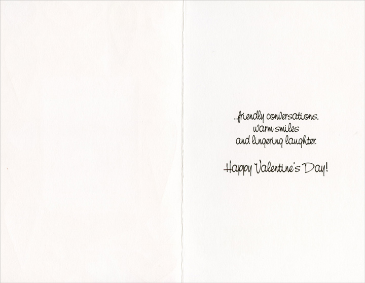 Heart Border: Enjoying Life's Simple Pleasures (1 card/1 envelope) - Valentine's Day Card - FRONT: Valentine's Day is a time for enjoying life's simple pleasures�  INSIDE: �friendly conversations, warm smiles and lingering laughter. Happy Valentine's Day!