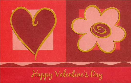 Large Gold Lined Heart and Flower (1 card/1 envelope) Freedom Greetings Valentine's Day Card - FRONT: Happy Valentine's Day  INSIDE: Thank you for always bringing me happiness and showing how much you care. Have a Wonderful Day!
