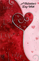 Swirly Silver Foil Heart: Valentine's Day Wish (1 card/1 envelope) - Valentine's Day Card