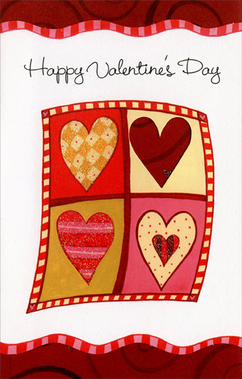 Four Hearts; Two by Two (1 card/1 envelope) Freedom Greetings Valentine's Day Card - FRONT: Happy Valentine's Day  INSIDE: This Valentine greeting is just one friendly way of getting in touch and wishing you a very happy Valentine's Day!
