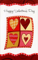 Four Hearts; Two by Two (1 card/1 envelope) Freedom Greetings Valentine's Day Card