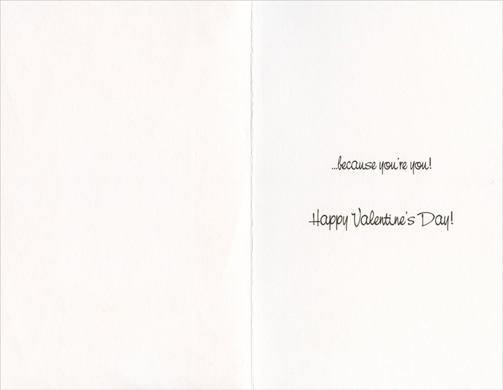 Heart Border: Because it's Valentine's Day (1 card/1 envelope) Freedom Greetings Valentine's Day Card - FRONT: Thinking of You Because it's Valentine's Day�  INSIDE: �because you're you! Happy Valentine's Day!