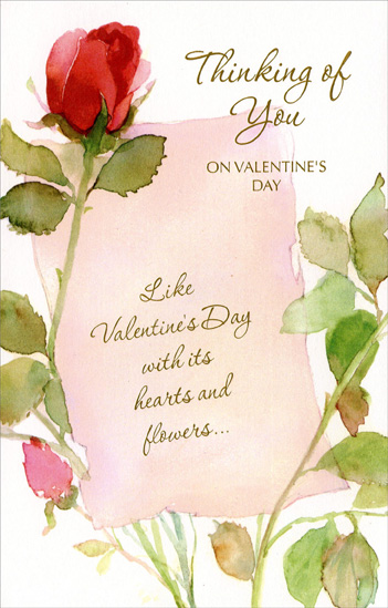 Long Stem Red Roses (1 card/1 envelope) - Valentine's Day Card - FRONT: Thinking of You on Valentine's Day - Like Valentine's Day with its hearts and flowers�  INSIDE: �thoughts of you fill so many hours with special happiness! Happy Valentine's Day