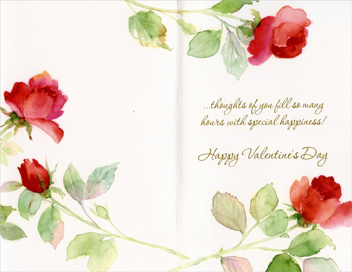 Long Stem Red Roses (1 card/1 envelope) Freedom Greetings Valentine's Day Card - FRONT: Thinking of You on Valentine's Day - Like Valentine's Day with its hearts and flowers�  INSIDE: �thoughts of you fill so many hours with special happiness! Happy Valentine's Day
