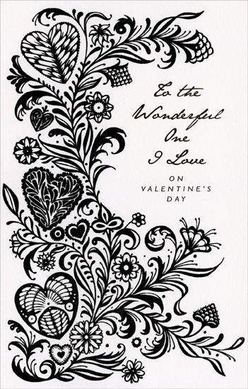Black Vines, Hearts and Flowers: One I Love (1 card/1 envelope) Freedom Greetings Valentine's Day Card - FRONT: To the Wonderful One I Love on Valentine's Day  INSIDE: Wherever you are, happiness blooms� Whenever you smile, a dream comes true� Whatever we do has a touch of magic Because it's shared� with wonderful you! Happy Valentine's Day