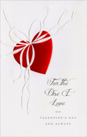 Red Foil Embossed Heart: One I Love (1 card/1 envelope) - Valentine's Day Card