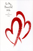 Two Red Foil Painted Hearts: Wife (1 card/1 envelope) Freedom Greetings Valentine's Day Card