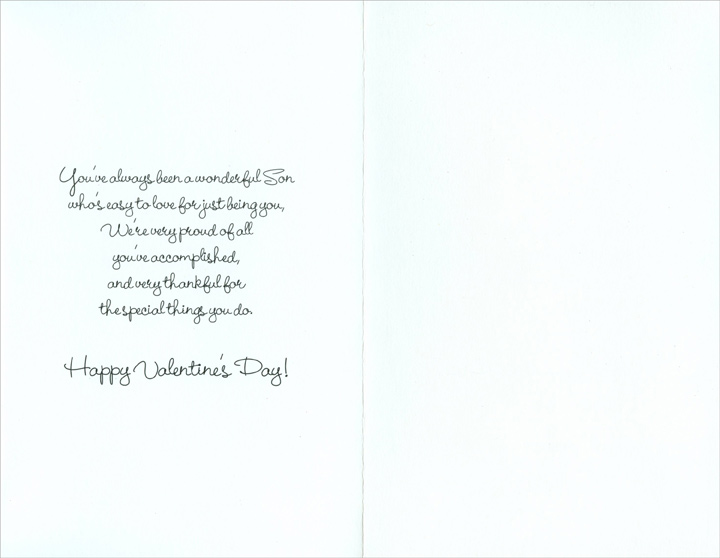 Four Hearts; Two by Two: Son (1 card/1 envelope) Freedom Greetings Valentine's Day Card - FRONT: Happy Valentine's Day, Son  INSIDE: You've always been a wonderful Son who's easy to love for just being you, We're very proud of all you've accomplished, and very thankful for the special things you do. Happy Valentine's Day
