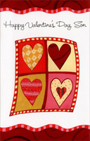 Four Hearts; Two by Two: Son (1 card/1 envelope) Freedom Greetings Valentine's Day Card