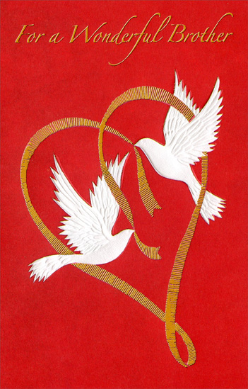 Two Doves Holding Gold Ribbon: Brother (1 card/1 envelope) Freedom Greetings Valentine's Day Card - FRONT: For a Wonderful Brother  INSIDE: With a wish because it's a special day� with love because it's for you. Happiness on Valentine's Day �and Always