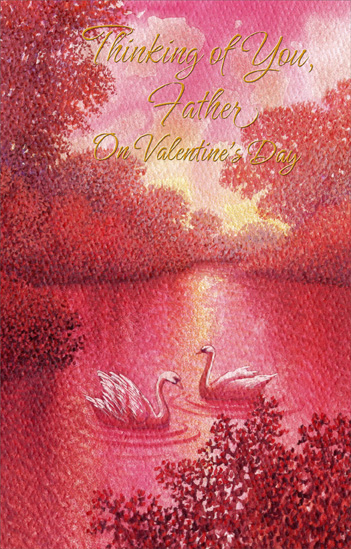 Two Swans in Pond: Father (1 card/1 envelope) Freedom Greetings Valentine's Day Card - FRONT: Thinking of You, Father on Valentine's Day  INSIDE: A father's kind of love deserves a special kind of praise Because a father shows he cares in very special ways Through the guidance and example that's remembered all life through So on Valentine's Day it's natural to remember a father like you. Happy Valentine's Day with Love for a Wonderful Father