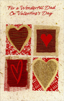 Red Foil and Woven Hearts: Dad (1 card/1 envelope) Freedom Greetings Valentine's Day Card