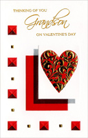 Geometric Shapes: Grandson (1 card/1 envelope) Freedom Greetings Valentine's Day Card