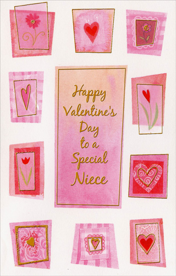 Flowers and Hearts: Niece (1 card/1 envelope) Freedom Greetings Valentine's Day Card - FRONT: Happy Valentine's Day to a Special Niece  INSIDE: You're a pleasure to think about, A pleasure to be near� That's why you deserve a Valentine every day all year! Happy Valentine's Day