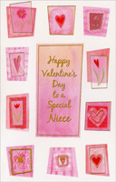 Flowers and Hearts: Niece (1 card/1 envelope) - Valentine's Day Card
