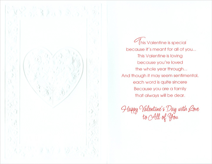 Red Foil Flowers in Heart: Daughter (1 card/1 envelope) Freedom Greetings Valentine's Day Card - FRONT: For Daughter and Her Family on Valentine's Day  INSIDE: This Valentine is special because it's meant for all of you� This Valentine is loving because you're loved the whole year through� And though it may seem sentimental,  each word is quite sincere because you are a family that always will be dear. Happy Valentine's Day with Love to All of You