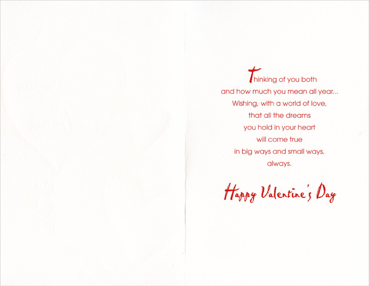 Gold Heart Outlines: Daughter (1 card/1 envelope) Freedom Greetings Valentine's Day Card - FRONT: Love to Daughter and Her Husband  INSIDE: Thinking of you both and how much you mean all year… Wishing, with a world of love, that all the dreams you hold in your heart will come true in big ways and small ways, always. Happy Valentine's Day