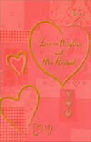 Gold Heart Outlines: Daughter (1 card/1 envelope) Freedom Greetings Valentine's Day Card