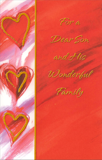 Gold Hearts on Watercolor Background: Son (1 card/1 envelope) Freedom Greetings Valentine's Day Card - FRONT: For a Dear Son and His Wonderful Family  INSIDE: Some heart-to-heart wishes that each one of you will enjoy some favorite dream come true� And you'll all be reminded on Valentine's Day of the warmth and affection that's coming your way. Happy Valentine's Day
