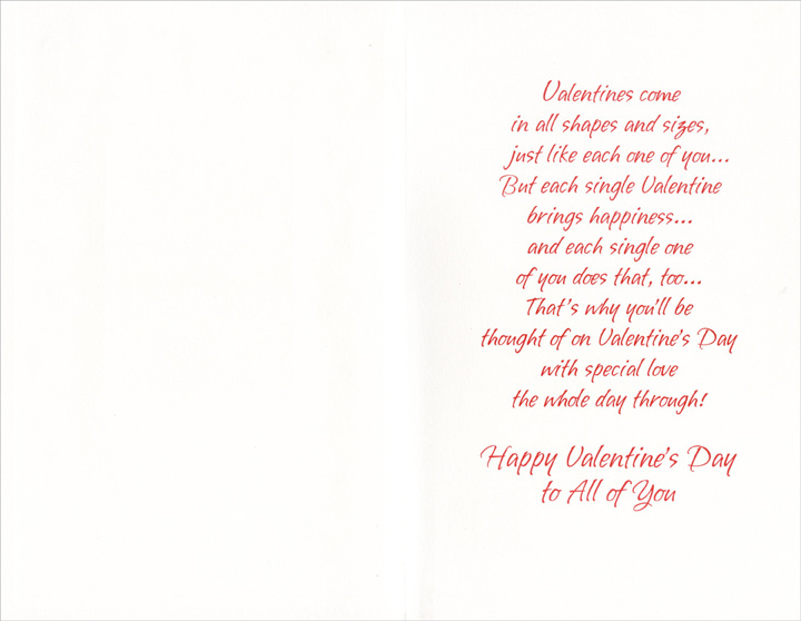 Mini Red Hearts on Embossed Swirls: Son (1 card/1 envelope) Freedom Greetings Valentine's Day Card - FRONT: With Love to You, Son, and Your Family on Valentine's Day and Always  INSIDE: Valentines come in all shapes and sizes, just like each one of you� But each single Valentine brings happiness� and each single one of you does that, too� That's why you'll be thought of on Valentine's Day with special love the whole day through! Happy Valentine's Day to All of You