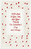 Mini Red Hearts on Embossed Swirls: Son (1 card/1 envelope) - Valentine's Day Card