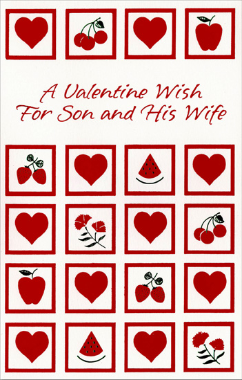 Fruit, Flowers and Hearts: Son (1 card/1 envelope) Freedom Greetings Valentine's Day Card - FRONT: A Valentine Wish for Son and his Wife  INSIDE: Hope Valentine's Day is warm and fuzzy, cuddly and cozy, a day you both will love! Happy Valentine's Day