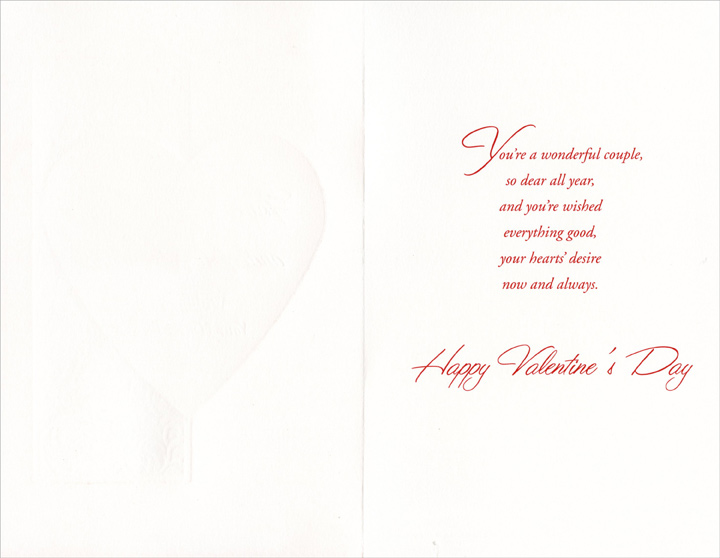Large Heart on Floral Background: Sister (1 card/1 envelope) Freedom Greetings Valentine's Day Card - FRONT: For a Dear Sister and Her Husband - Wishing You Your Hearts' Desire  INSIDE: You're a wonderful couple, so dear all year, and you're wished everything good, your hearts' desire now and always. Happy Valentine's Day